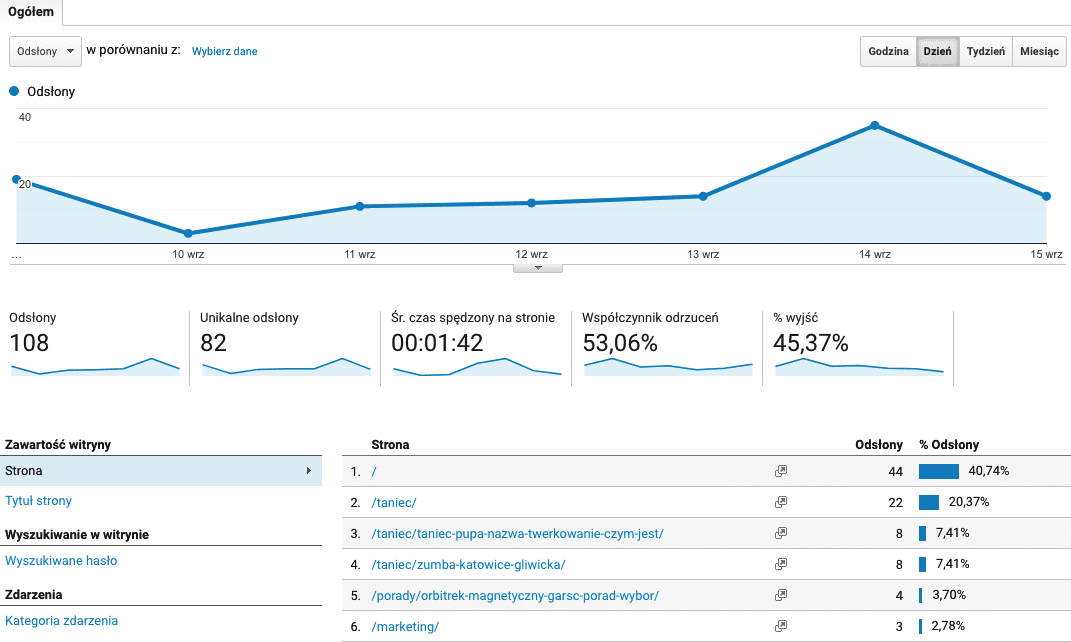 Google Analytics - panel.