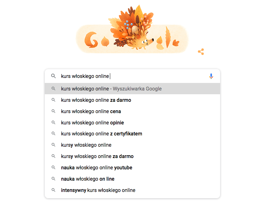 Autouzupełnianie Google.